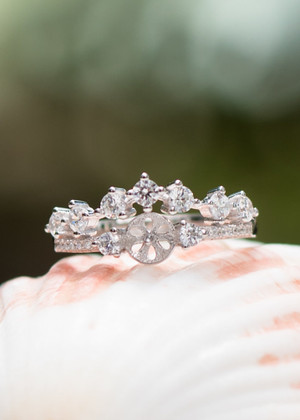 Crowned Beauty Sterling Silver Ring Setting (Pearl NOT Included)