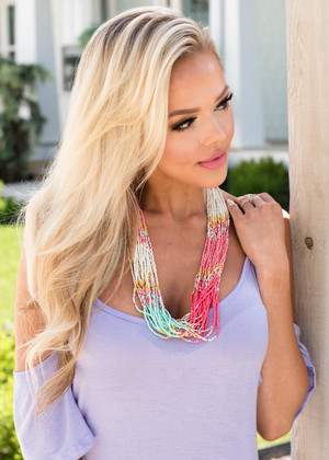 Color Block Beaded Ombre Necklace