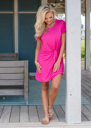 This One's For You Twist Shift Dress Fuchsia