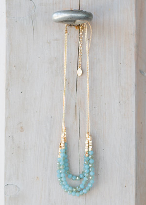 Shiny Gold and Turquoise Beaded Necklace