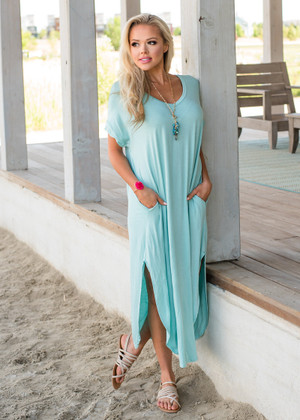 Smooth Summer Oversized Loose Fit Round Maxi Dress Mint CLEARANCE