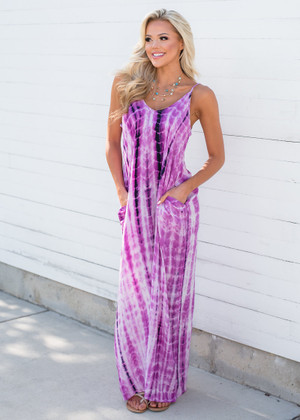 Beach Day Tie Dye Cocoon Maxi Dress Violet