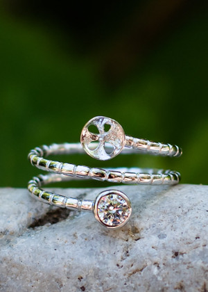 Wrapped Around My Finger Sterling Silver Ring Setting (Pearl NOT Included)