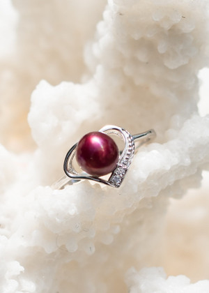 Heart Perfection Sterling Silver Ring - LIVE PEARL OPENING