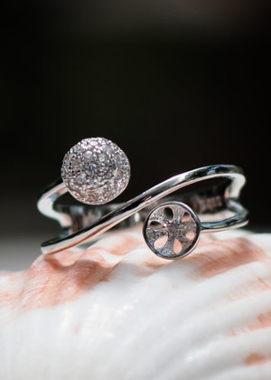 Exquisite Beauty Sterling Silver Ring Setting (Pearl NOT Included)