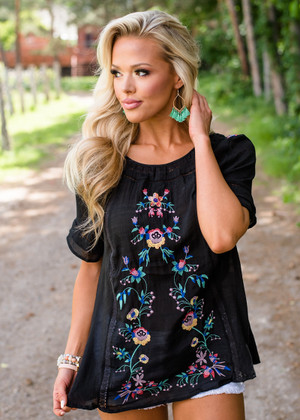Embroidered Happiness Sheer Top Black CLEARANCE