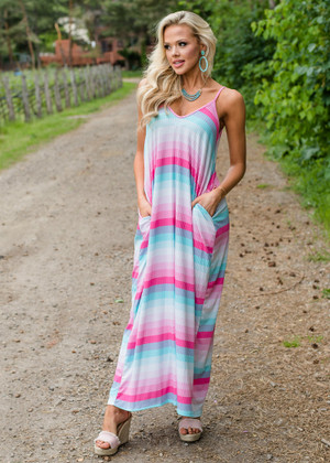 Candy Cutie Striped Pocket Maxi Dress Pink CLEARANCE