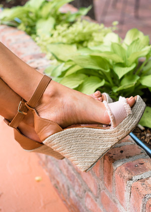 The Perfection Frayed Wedges Blush CLEARANCE