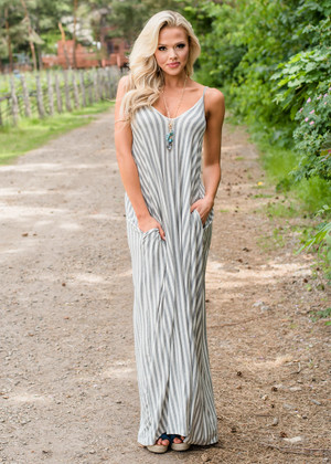 Heavenly Striped Pocket Maxi Dress Off White/Gray
