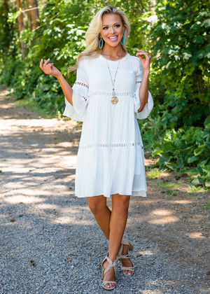 Call Me Babydoll Ruffle Sleeve Dress Ivory