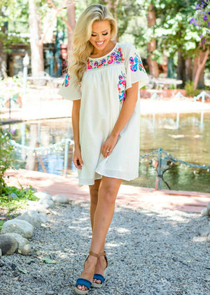 Bright Floral Embroidered Shift Dress Cream