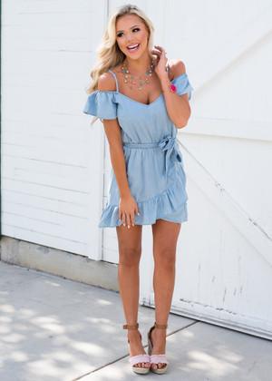 Greatest Impression Ruffle Tie Lt Blue Denim Dress