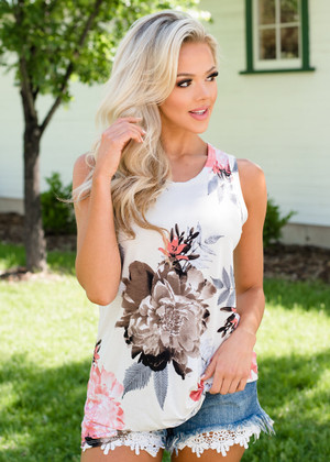 Caught Up In Your Love Floral Twisted Tank Top Ivory