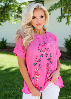 Embroidered Happiness Sheer Top Pink