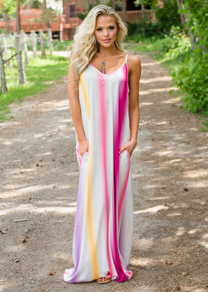 Effortlessly Beautiful Striped Dyed Maxi Dress