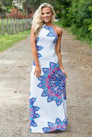 Colorful Aztec Designed Maxi Dress White