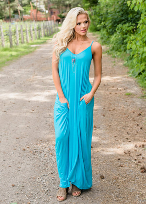 Take Me To Paradise Pocket Maxi Dress Turquoise CLEARANCE
