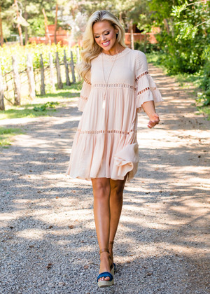 Call Me Babydoll Ruffle Sleeve Crochet Dress Blush