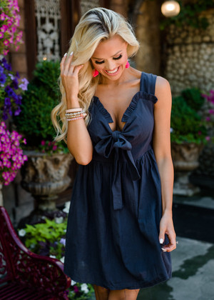 Never Seen Such Beauty Dark Navy Bow Dress