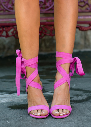 Tied Up So Lovely Heels Fuchsia CLEARANCE