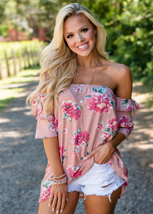 Your Favorite Girl Floral Off Shoulder Top Mauve CLEARANCE