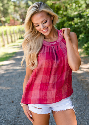Here I Come Plaid Embroidery Detail Top Red CLEARANCE
