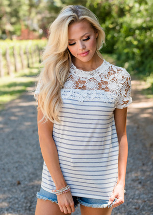 All Of My Love Lace Shoulder Striped Top White/Gray