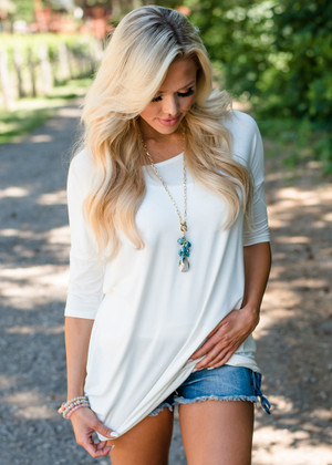 Perfect Transition Soft Dolman Top Ivory