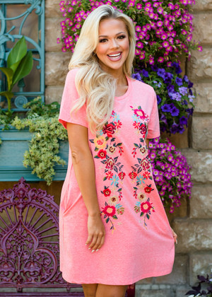 Intricate Floral Embroidered Detail Shift Dress Coral