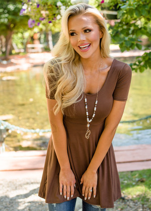Sweetheart Flare Fitted Babydoll Tunic Mocha CLEARANCE