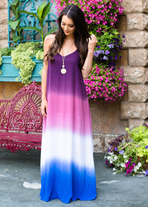 Fading Into You Ombre Maxi Dress Purple CLEARANCE