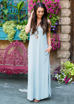 Never Leave Me Striped Maxi Dress Sage CLEARANCE