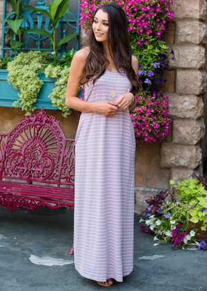 Never Leave Me Striped Maxi Dress Mauve CLEARANCE