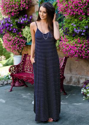 Never Leave Me Striped Pocket Maxi Dress Navy