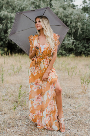 Prairie Dreams Floral Ruffle Maxi Dress Mustard