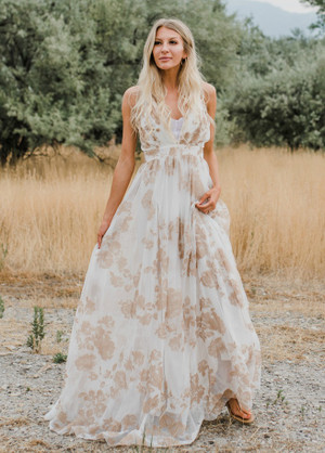 Petals of Love Floral Gorgeous Flowy Sheer Maxi Gown Ivory