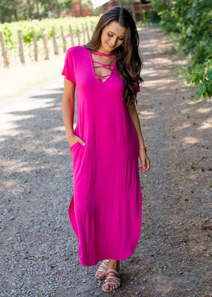 Step It Up Criss Cross Maxi Dress Fuchsia CLEARANCE