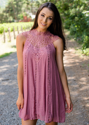 Kiss Me Softly Crochet Detailed Shift Dress Dusty Rose CLEARANCE