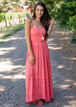 Makes My Heart Beat Tiered Ruffle Maxi Dress Coral CLEARANCE