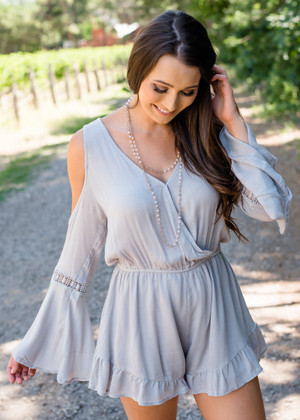 Wanderlust Crochet Ruffle Detailed Trim Romper Gray