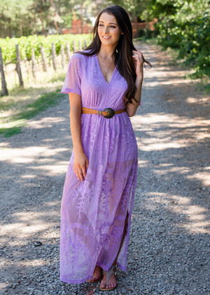 Adorable Lace Detailed Romper Maxi Dress Violet CLEARANCE