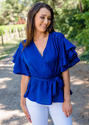 Double Ruffled Surplice Wrapped Tie Top Royal Blue CLEARANCE