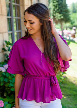 Double Ruffled Surplice Wrapped Tie Top Magenta CLEARANCE