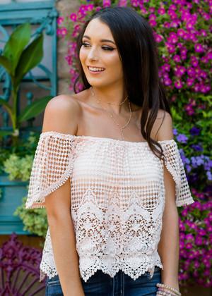 Summer Romance Crochet Off Shoulder Top Blush