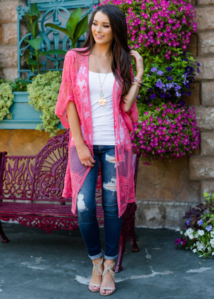 Don't Make Me Wait Crochet Lace Long Cardigan Berry