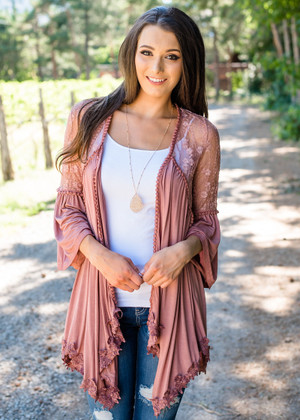 Forget The Past Ruffled Lace Detailed Cardigan Mauve