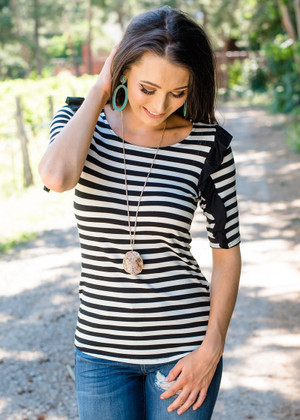 Give It My All Ruffle Shoulder Striped Top Black