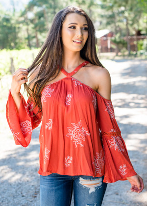 Only Yours Embroidered Belle Sleeve Top Rust CLEARANCE