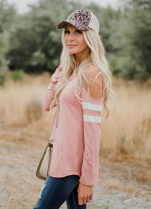 Game Changer Varsity Stripe Cold Shoulder Top Peach
