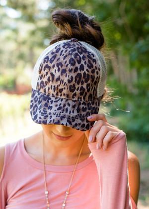 Leopard Ponytail Baseball Cap